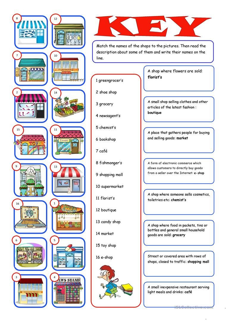 Shopping Math Worksheets Shopping Reading&matching Worksheet Free Esl Printable