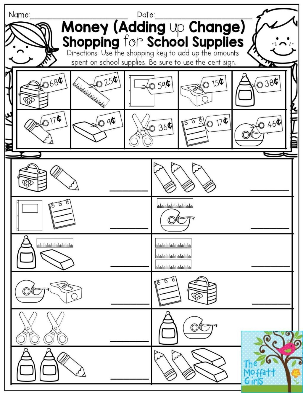 Shopping Math Worksheets Worksheet Back to School Packets Money Math Worksheets