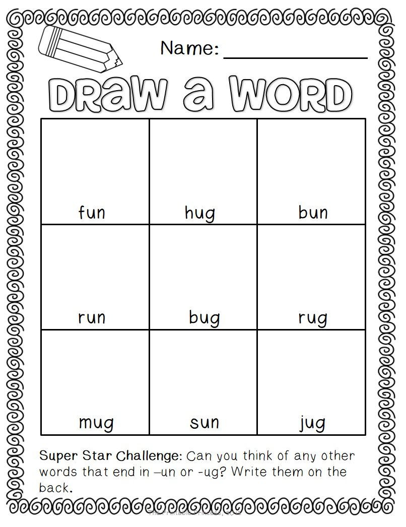 Short Vowel Worksheets 1st Grade Draw A Word Short Vowel Word Family Edition
