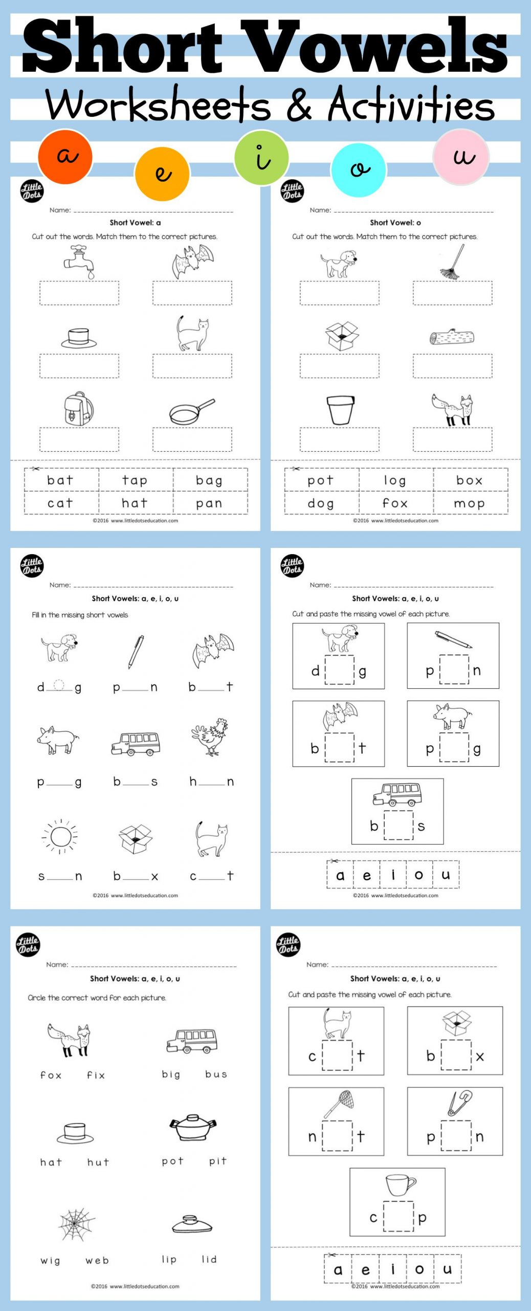 Short Vowel Worksheets 2nd Grade Short Vowels Middle sounds Worksheets and Activities