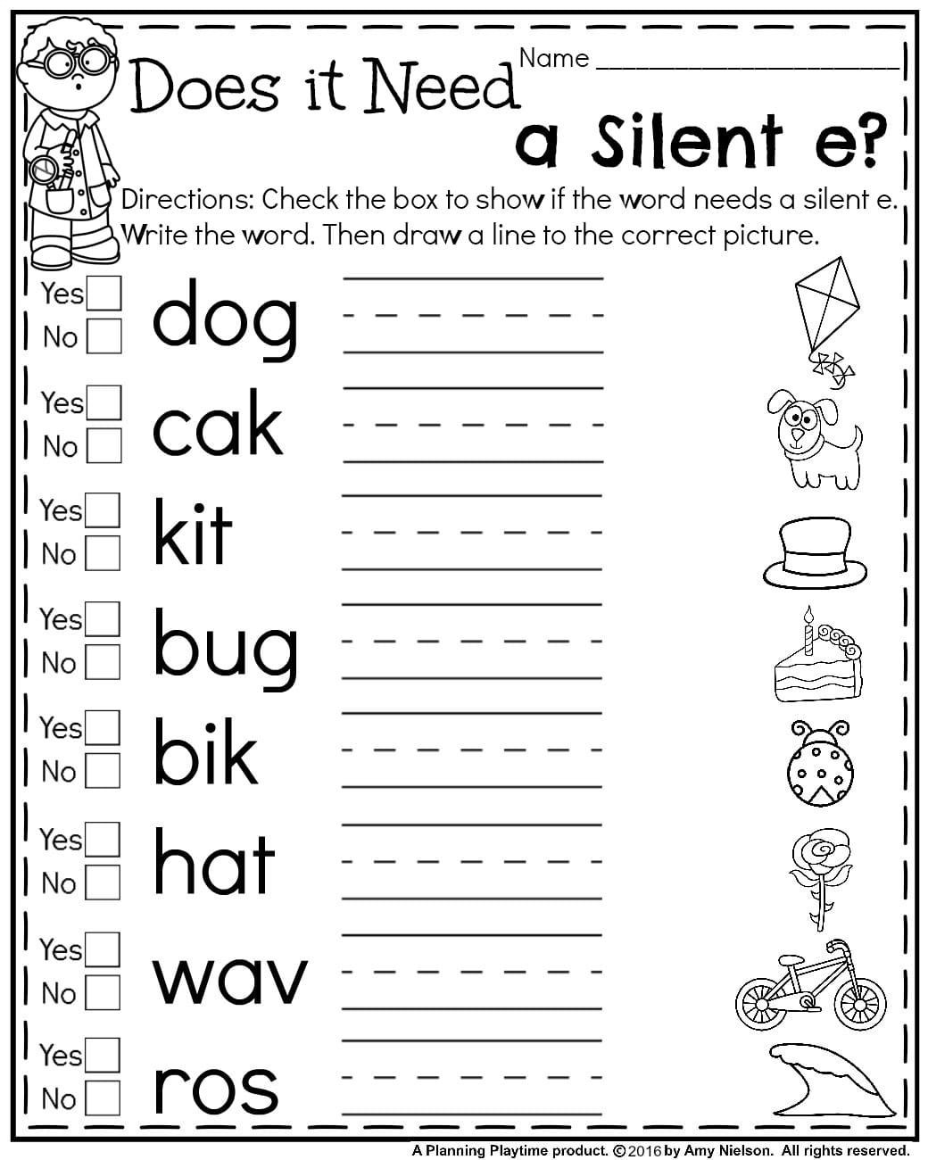 Silent E Worksheets 2nd Grade First Grade Summer Worksheets