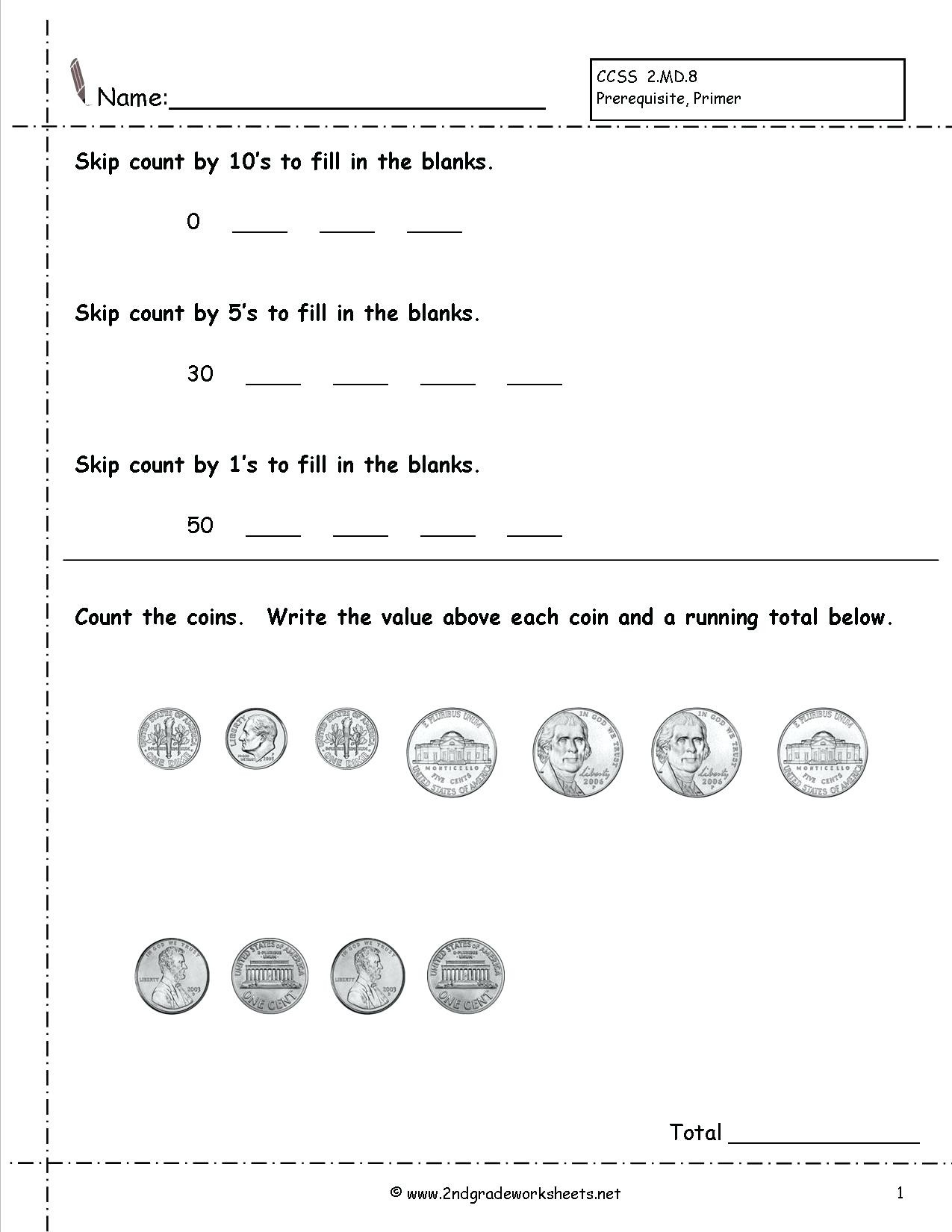 Skip Counting Worksheets 2nd Grade Money Worksheets for 2nd Graders Gta V Earn Money