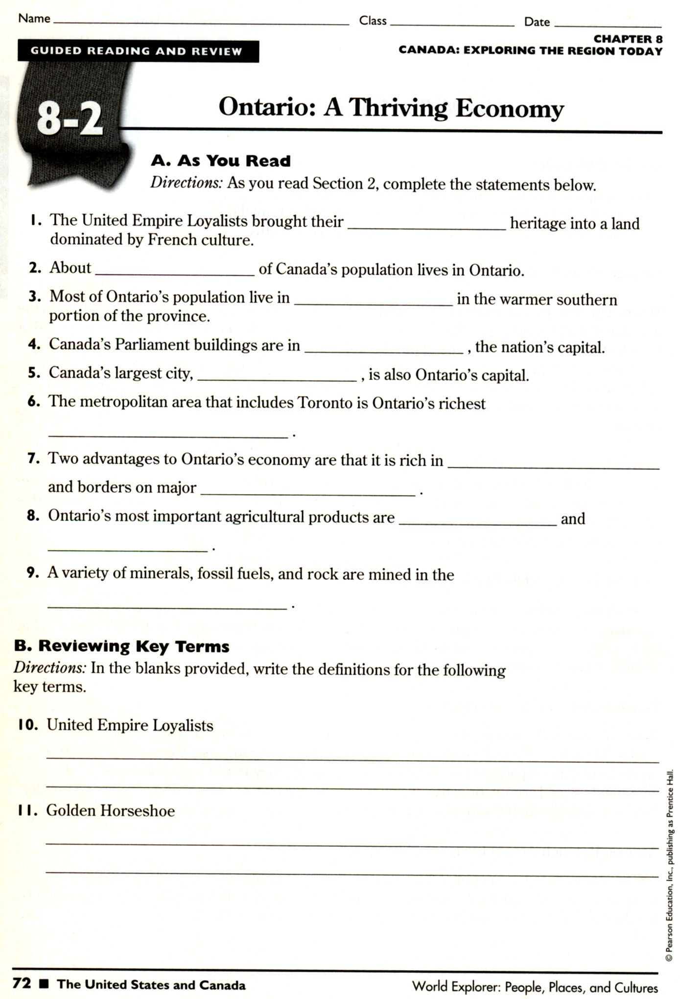 Social Studies Worksheets 7th Grade Physical Geography the United States and Canada Worksheet