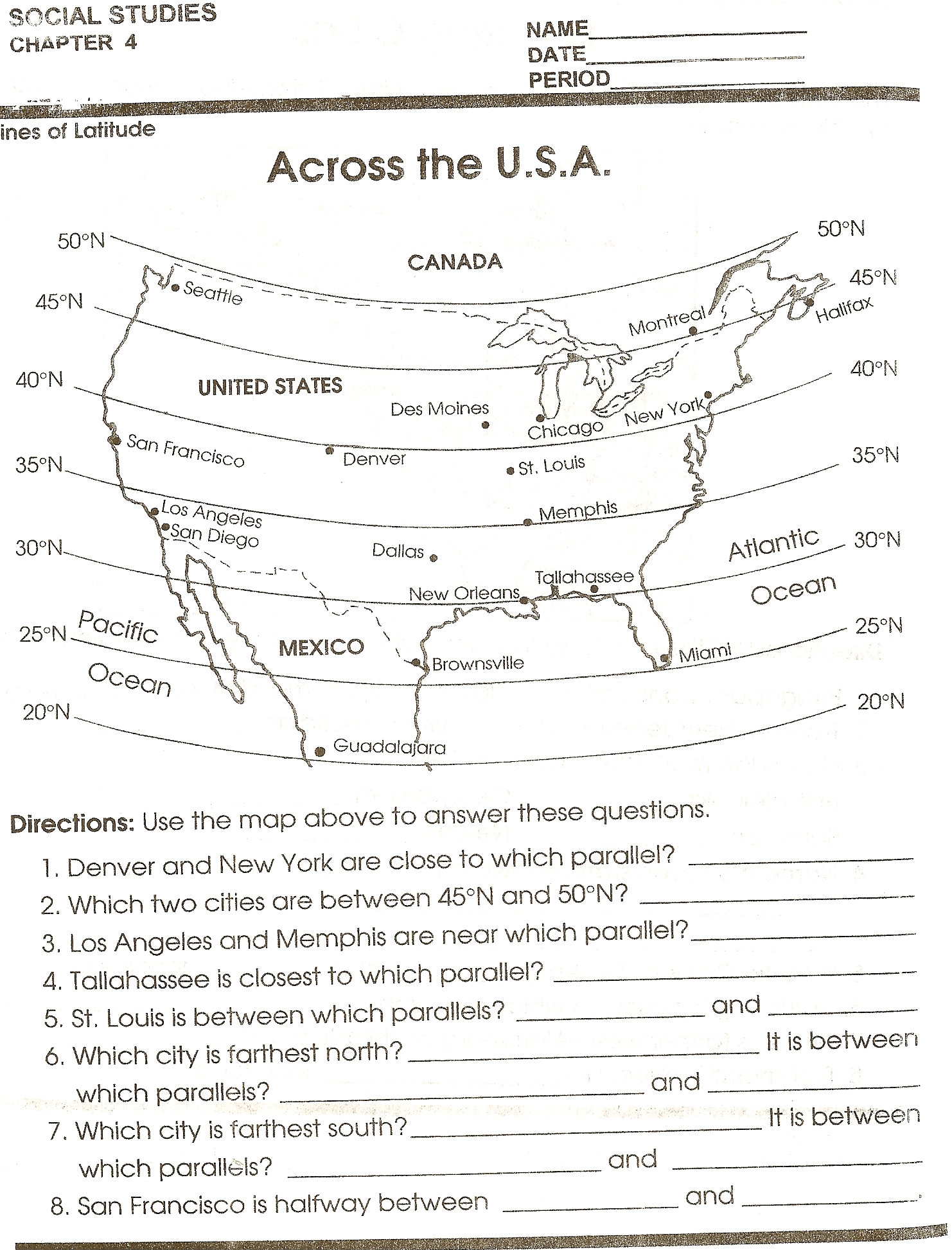 Social Studies Worksheets 8th Grade Latitude and Longitude Worksheets 6th Grade