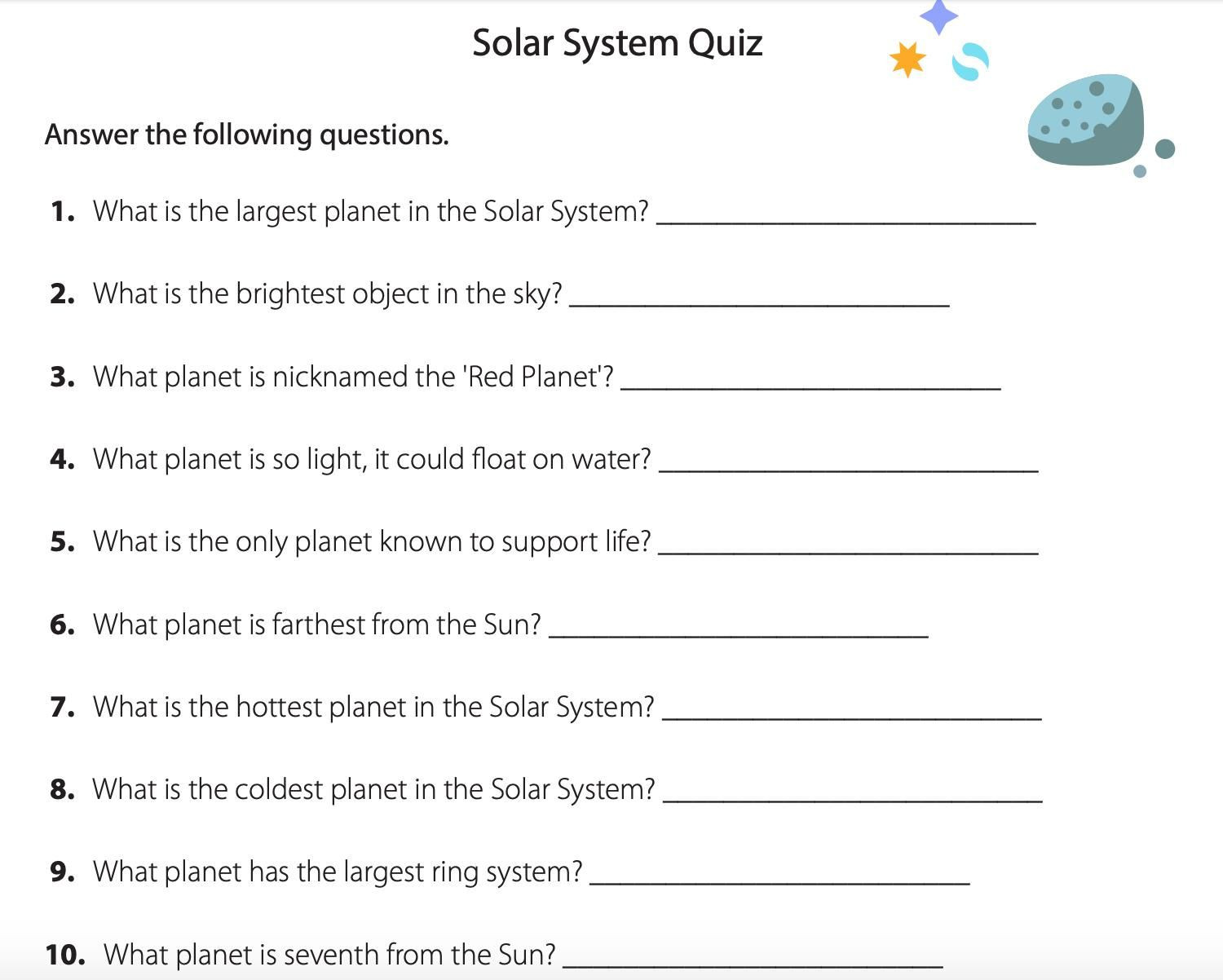 Solar System Worksheets 5th Grade Fourth Grade solar System Worksheets