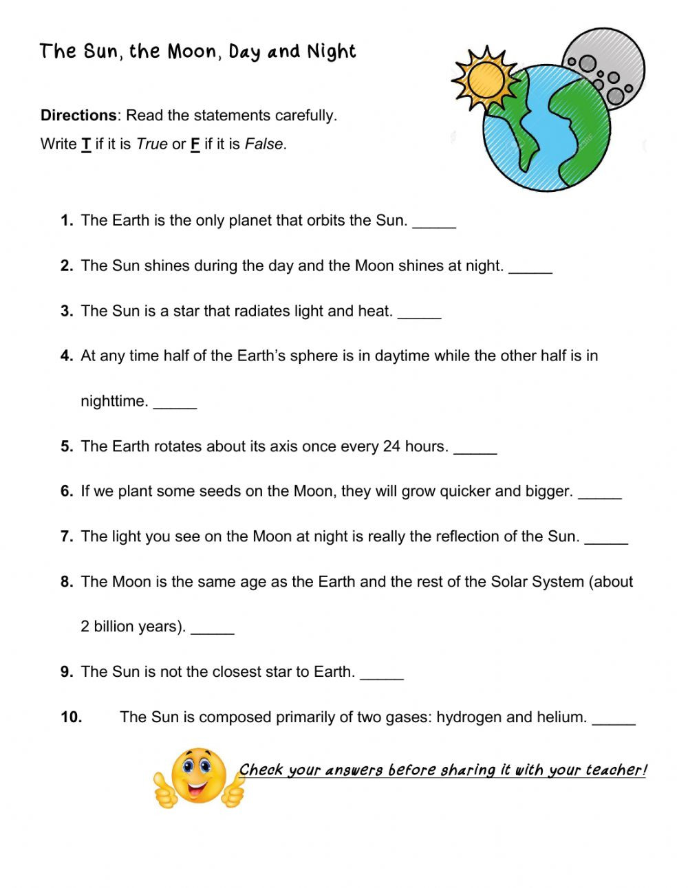 Solar System Worksheets 5th Grade the Sun the Moon Day and Night Interactive Worksheet