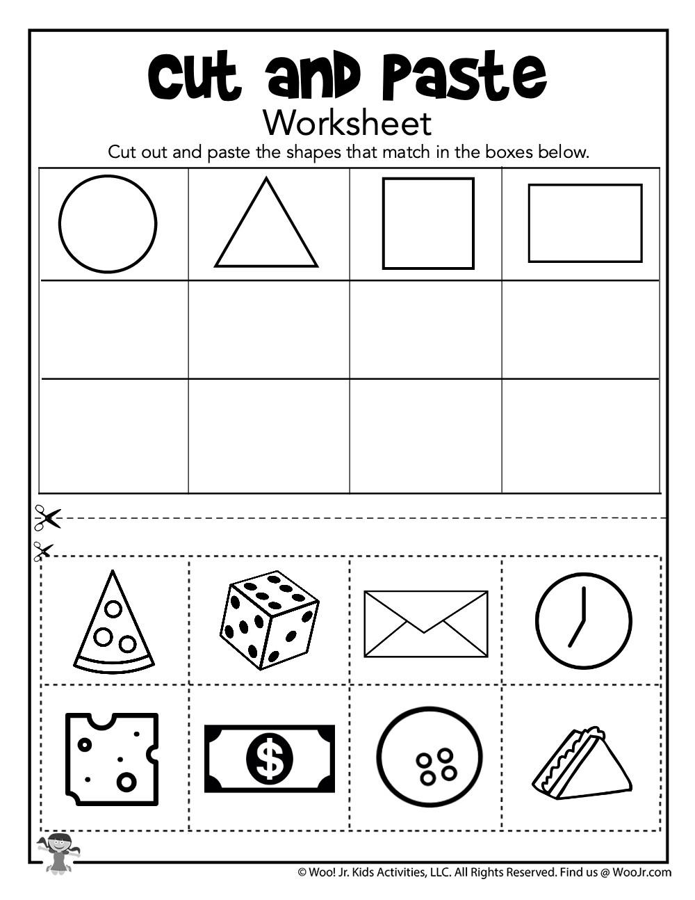 Sorting Shapes Worksheets First Grade Cut and Paste Shape sorting Worksheet