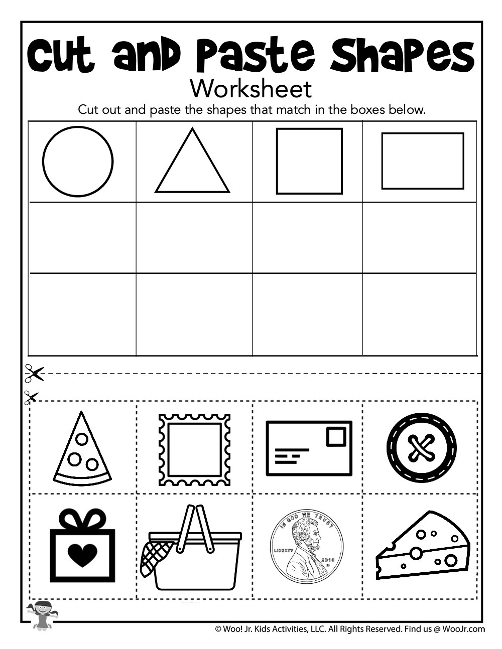 Sorting Shapes Worksheets First Grade Shape sorting Cut and Paste Printable