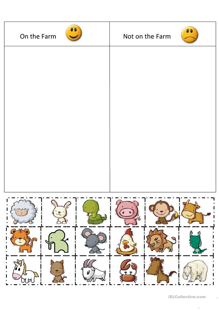 Sorting Worksheets for First Grade Farm sort English Esl Worksheets for Distance Learning and