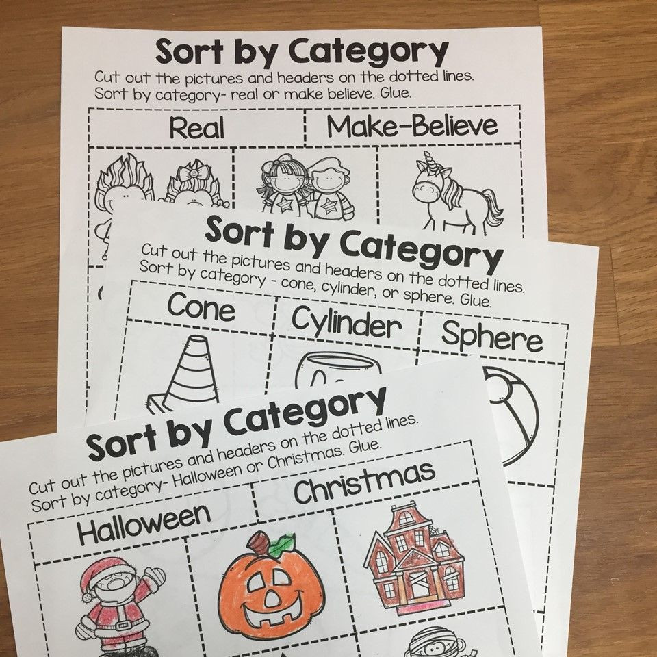 Sorting Worksheets for First Grade sort by Category sorting Printables for Prek Kindergarten