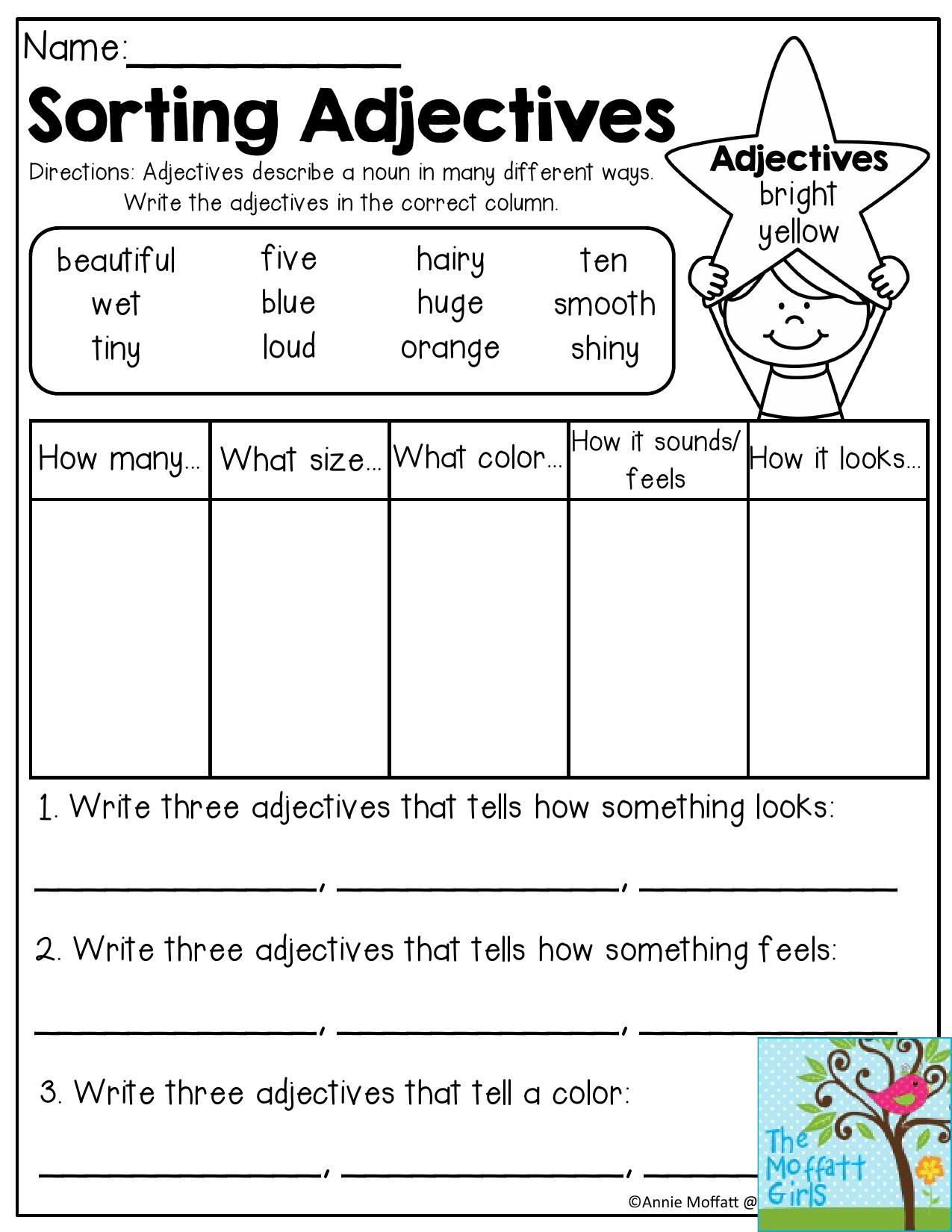 Sorting Worksheets for First Grade sorting Adjectives Adjectives Describe A Noun In Many