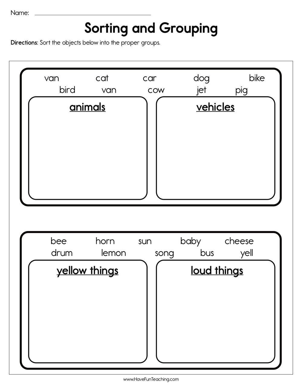 Sorting Worksheets for First Grade sorting and Grouping Worksheet