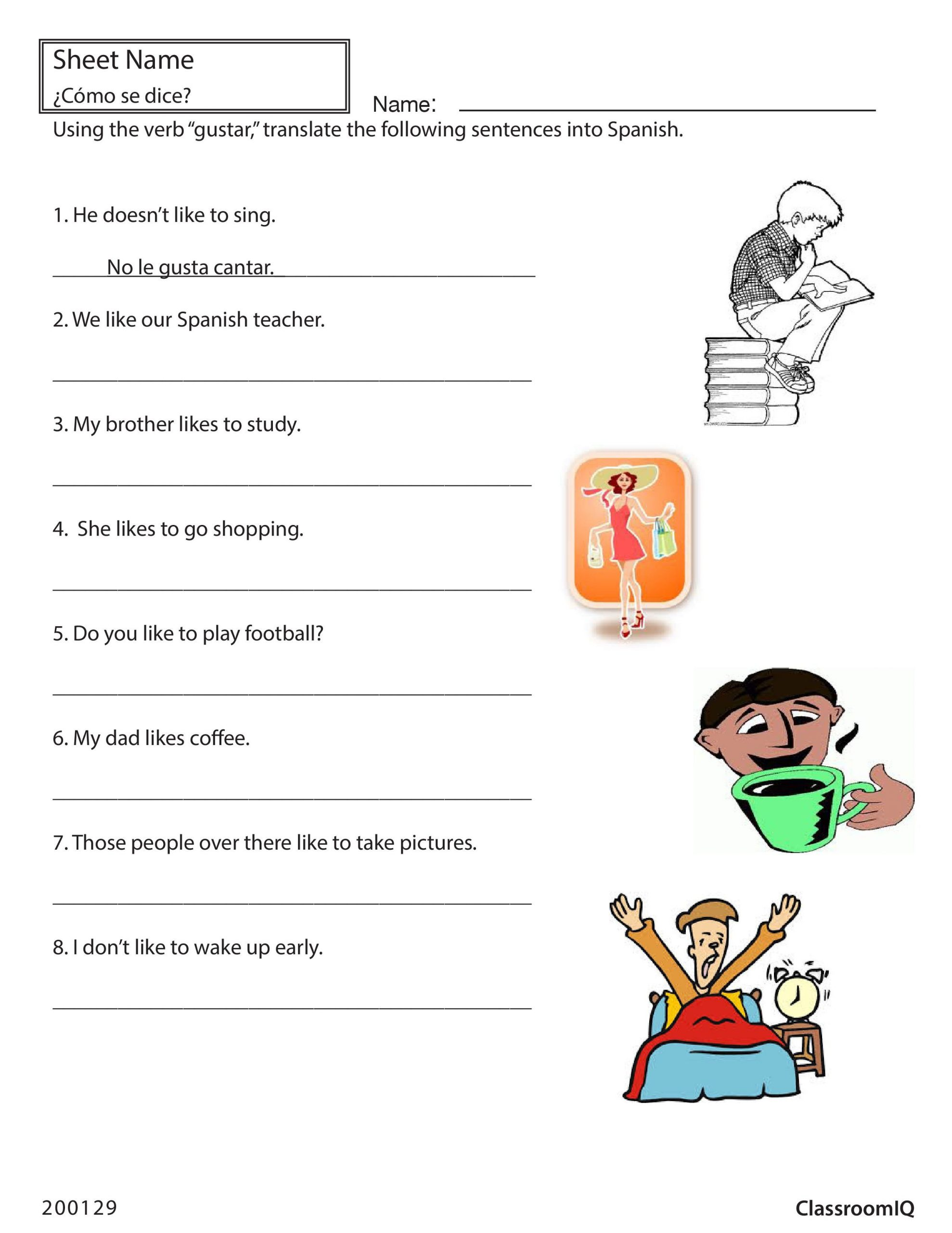 Spanish Reflexive Verbs Worksheet Printable Translate English Sentences with Gustar Spanishworksheet
