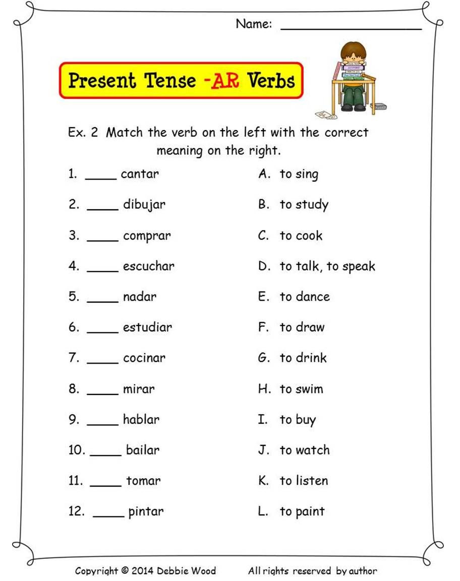 Spanish Verb Conjugation Worksheets Printable Spanish Present Tense Ar Verbs