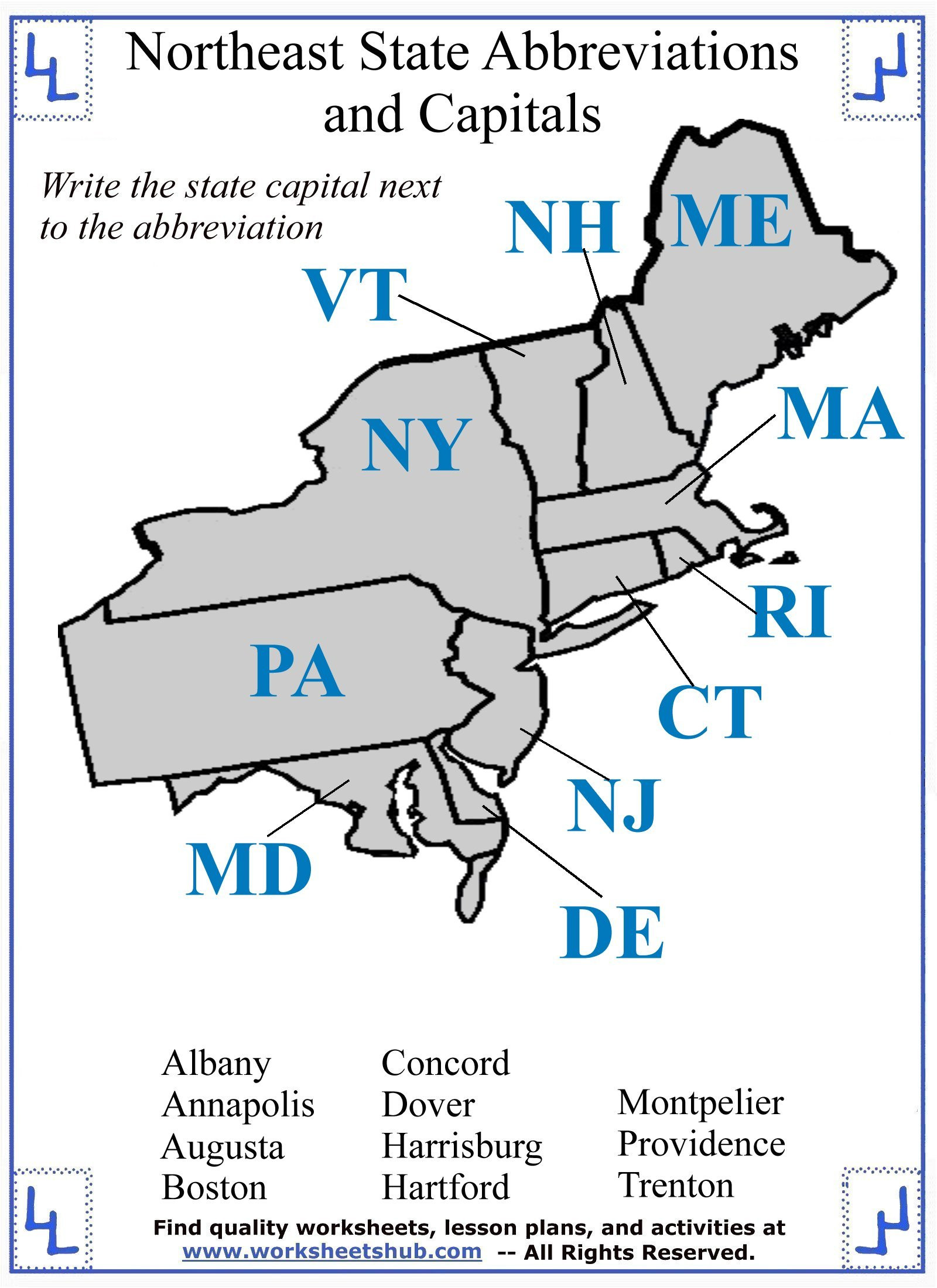 State Capitals Printable Quiz Fourth Grade social Stu S northeast Region States and