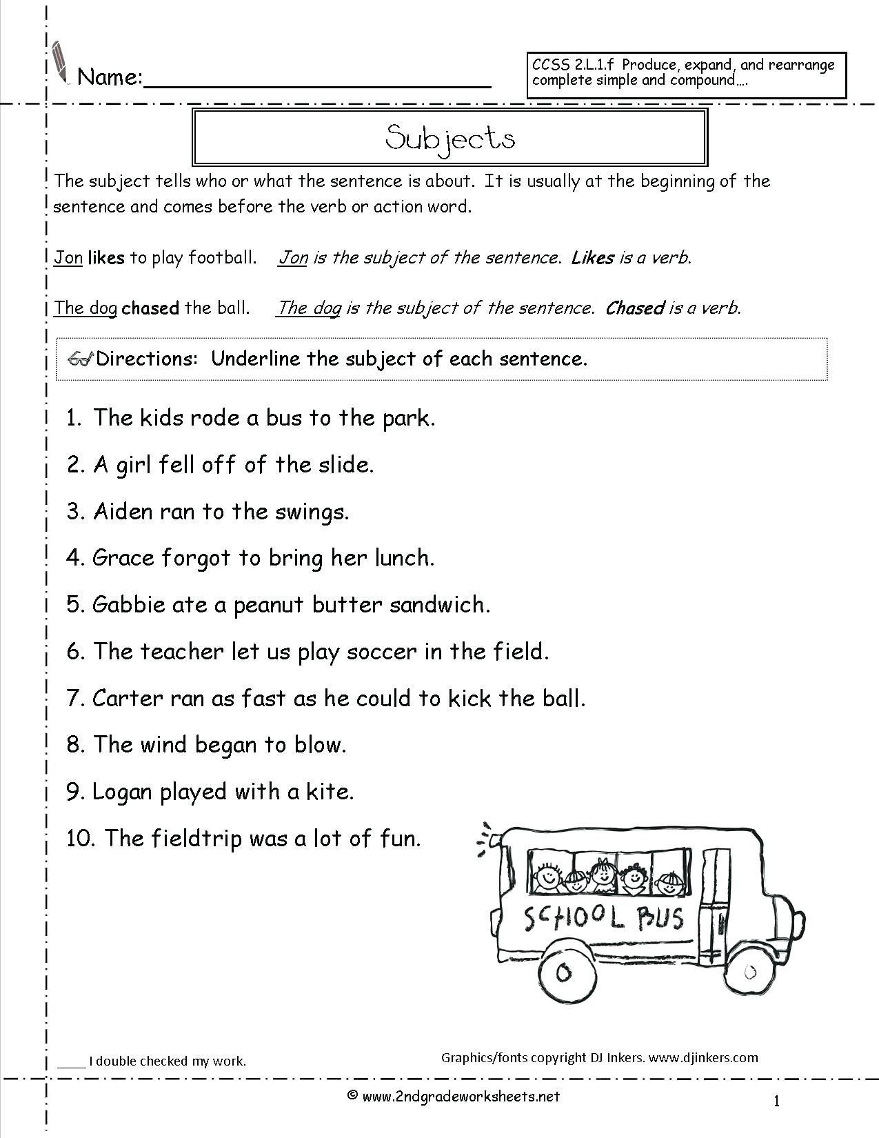 Subject Predicate Worksheet 2nd Grade 41 Innovative Subject and Predicate Worksheets Design Ideas