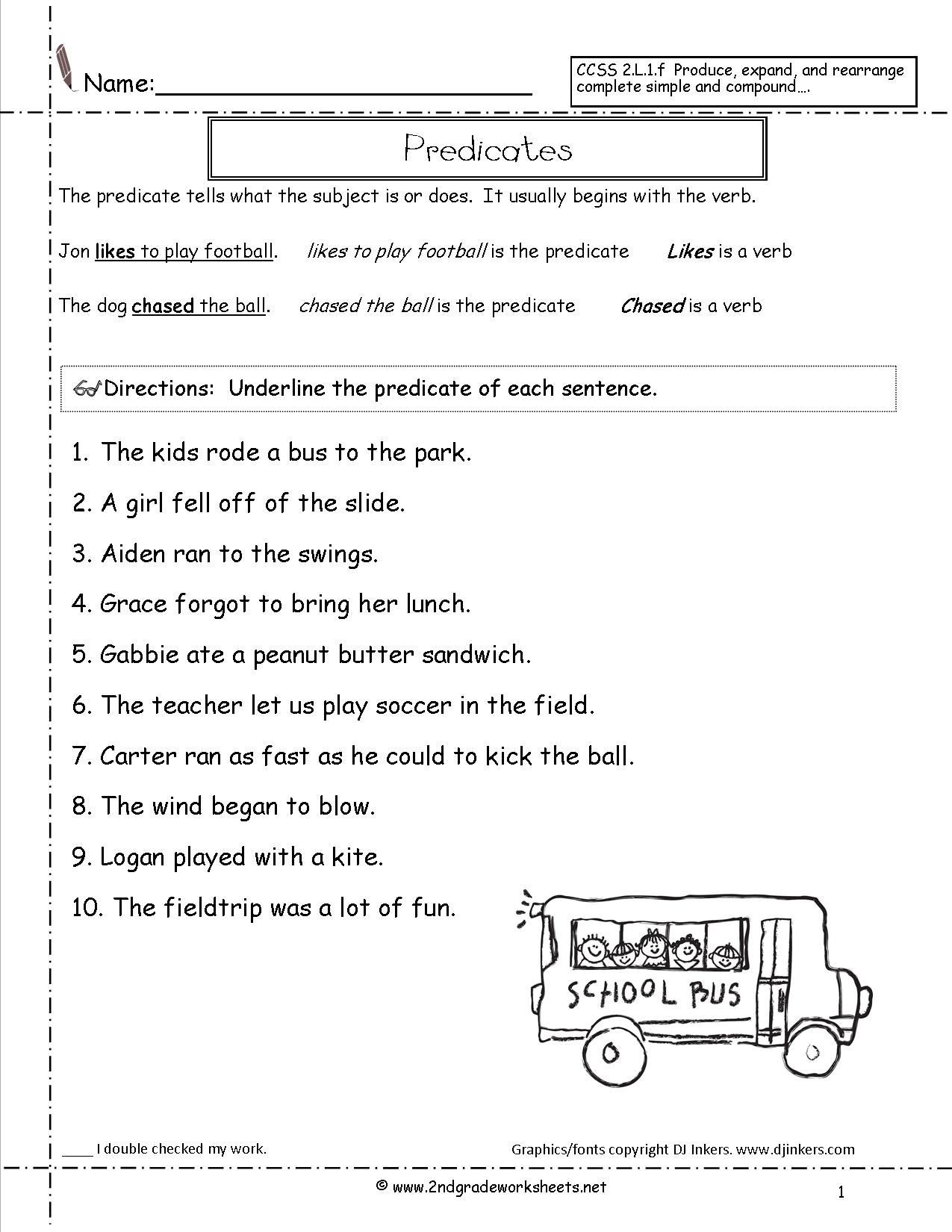 Subject Predicate Worksheet 2nd Grade Predicates Worksheet