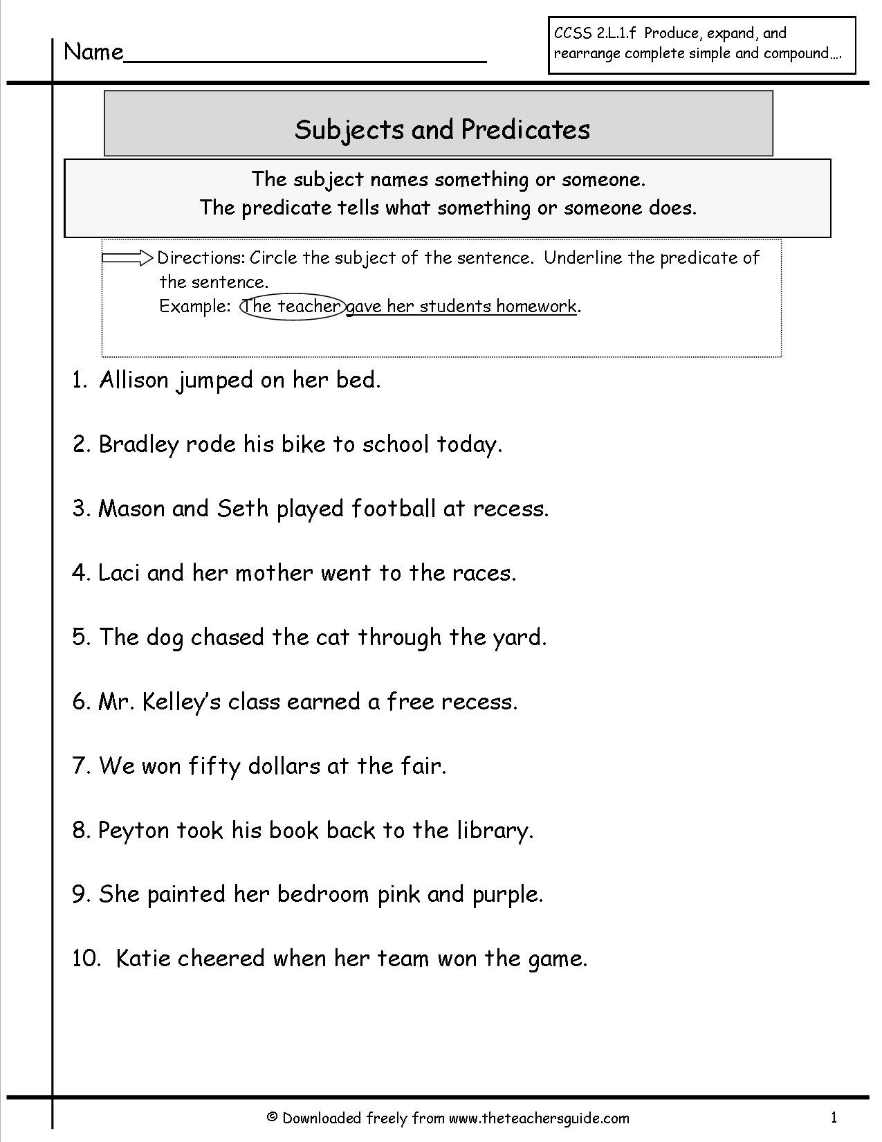 Subject Predicate Worksheet 2nd Grade Second Grade Subject and Predicate Worksheet