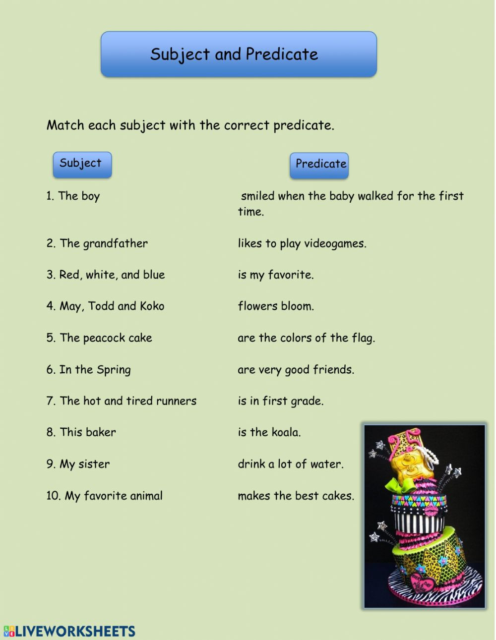 Subject Predicate Worksheet 2nd Grade Subject and Predicate Interactive Worksheet