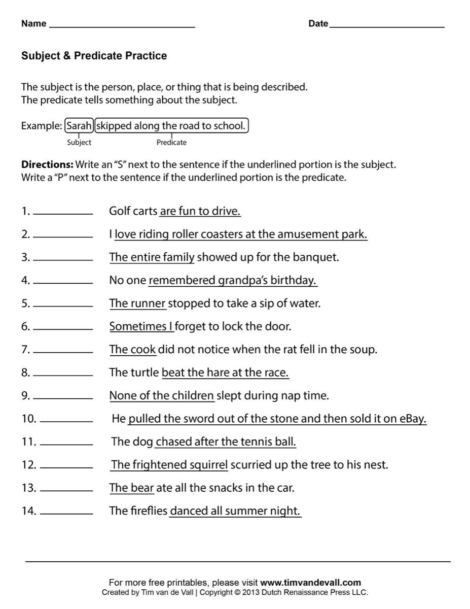 Subject Predicate Worksheet 2nd Grade Subject Predicate Worksheets 03 Printable 927—1200