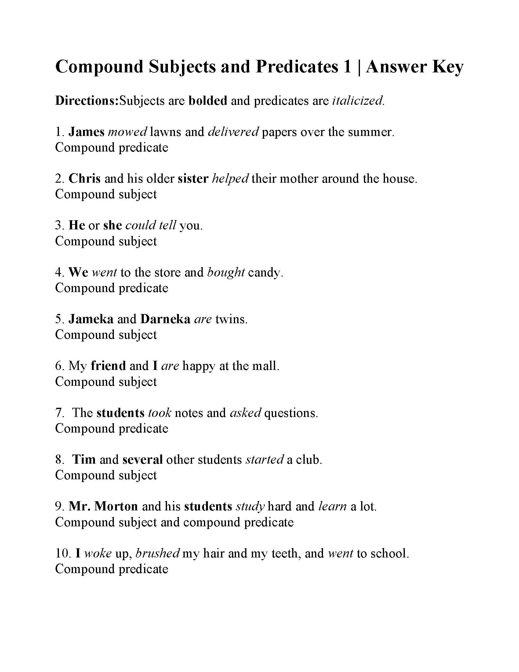 Subject Predicate Worksheet 2nd Grade Subjects and Predicates Worksheets Answers