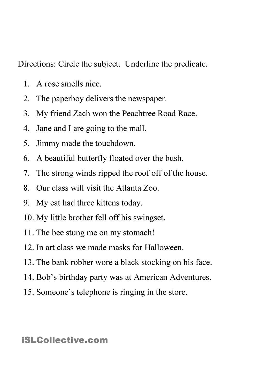 Subject Predicate Worksheet 6th Grade Identifying Subject and Predicate Worksheet