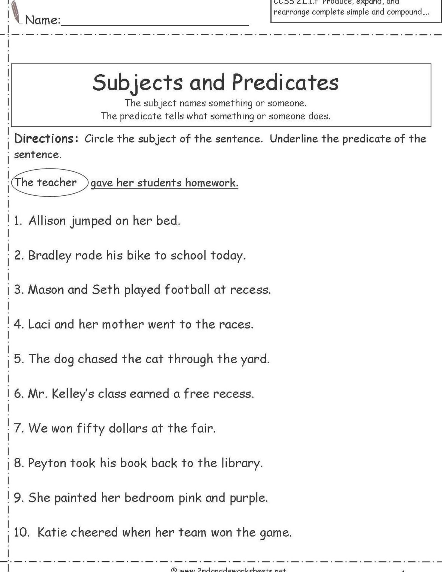 Subject Predicate Worksheet 6th Grade Subject and Predicate Worksheets for Second Grade