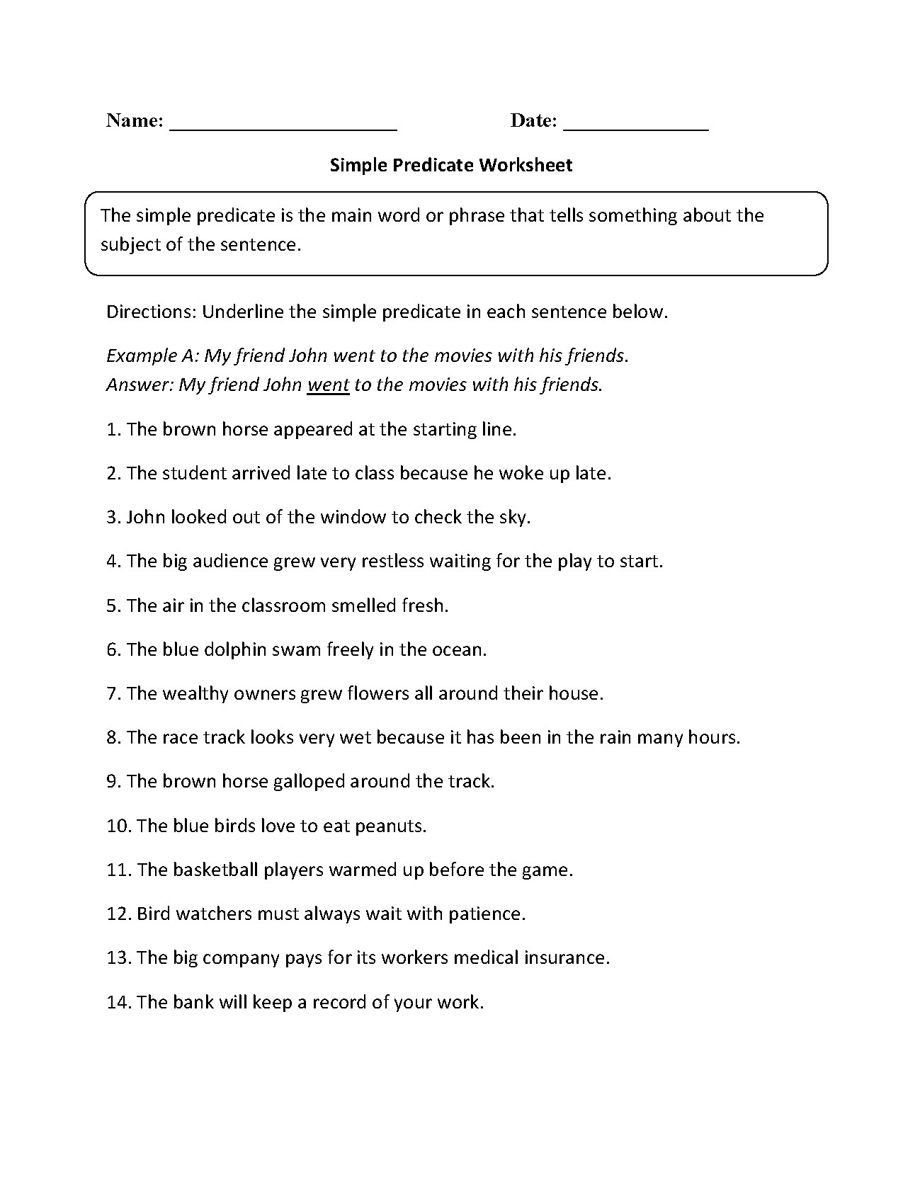 Subject Predicate Worksheet 6th Grade Subjects and Predicates Worksheets Answers