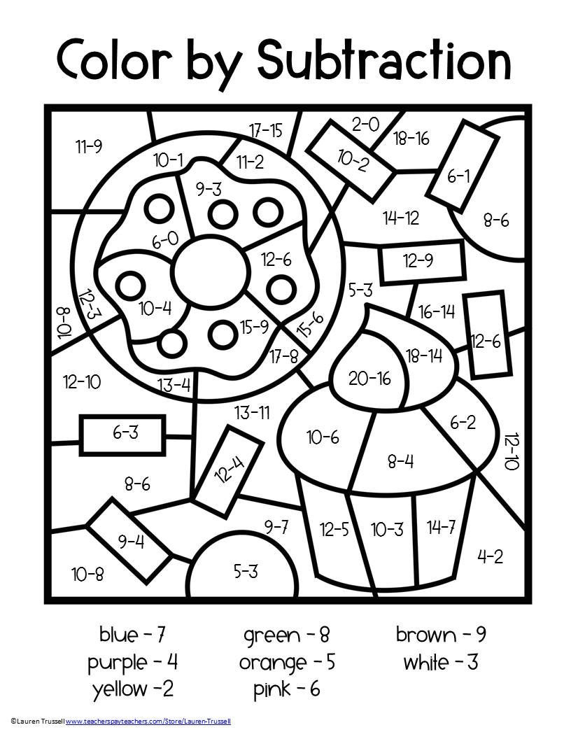 Subtraction Coloring Worksheets 2nd Grade Subtraction Color by Number