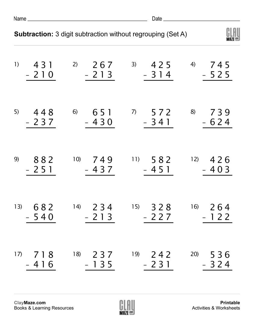 Subtraction Worksheets 1st Grade Download Our Free Printable 3 Digit Subtraction Worksheet