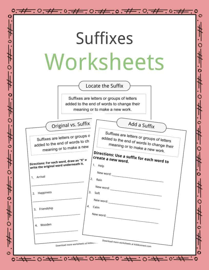 Suffixes Worksheets for 2nd Grade Suffixes Worksheets Examples & Definition for Kids
