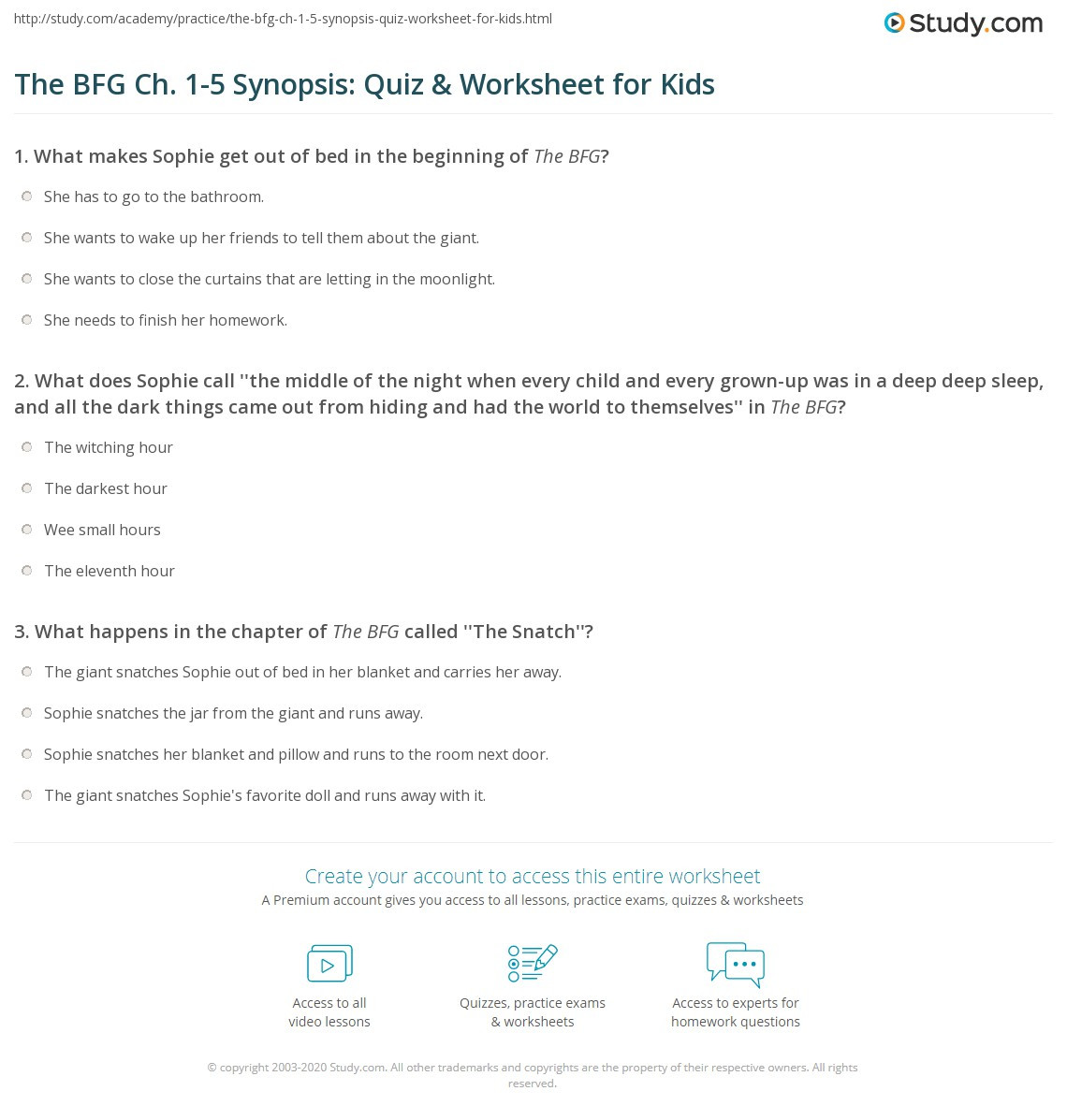 Summary Worksheets Middle School the Bfg Ch 1 5 Synopsis Quiz & Worksheet for Kids