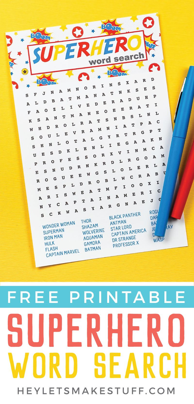 Superhero Word Search Printable Free Printable Superhero Word Search