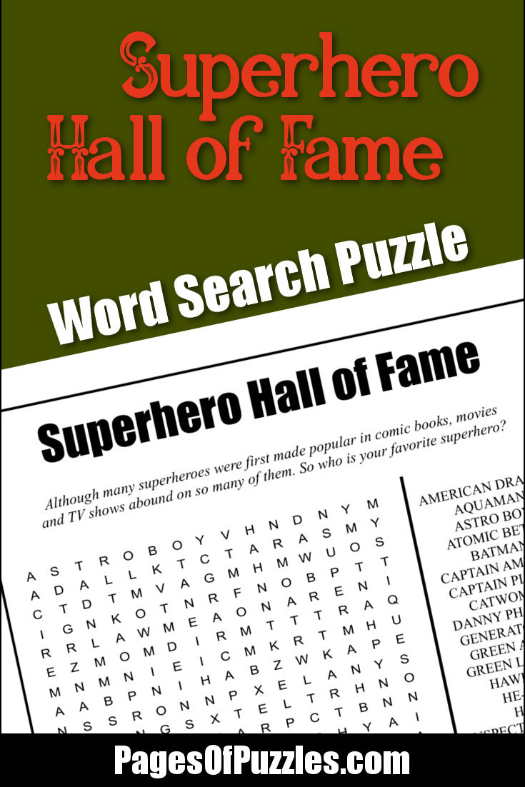 Superhero Word Search Printable Superhero Hall Of Fame Word Search – Pages Of Puzzles
