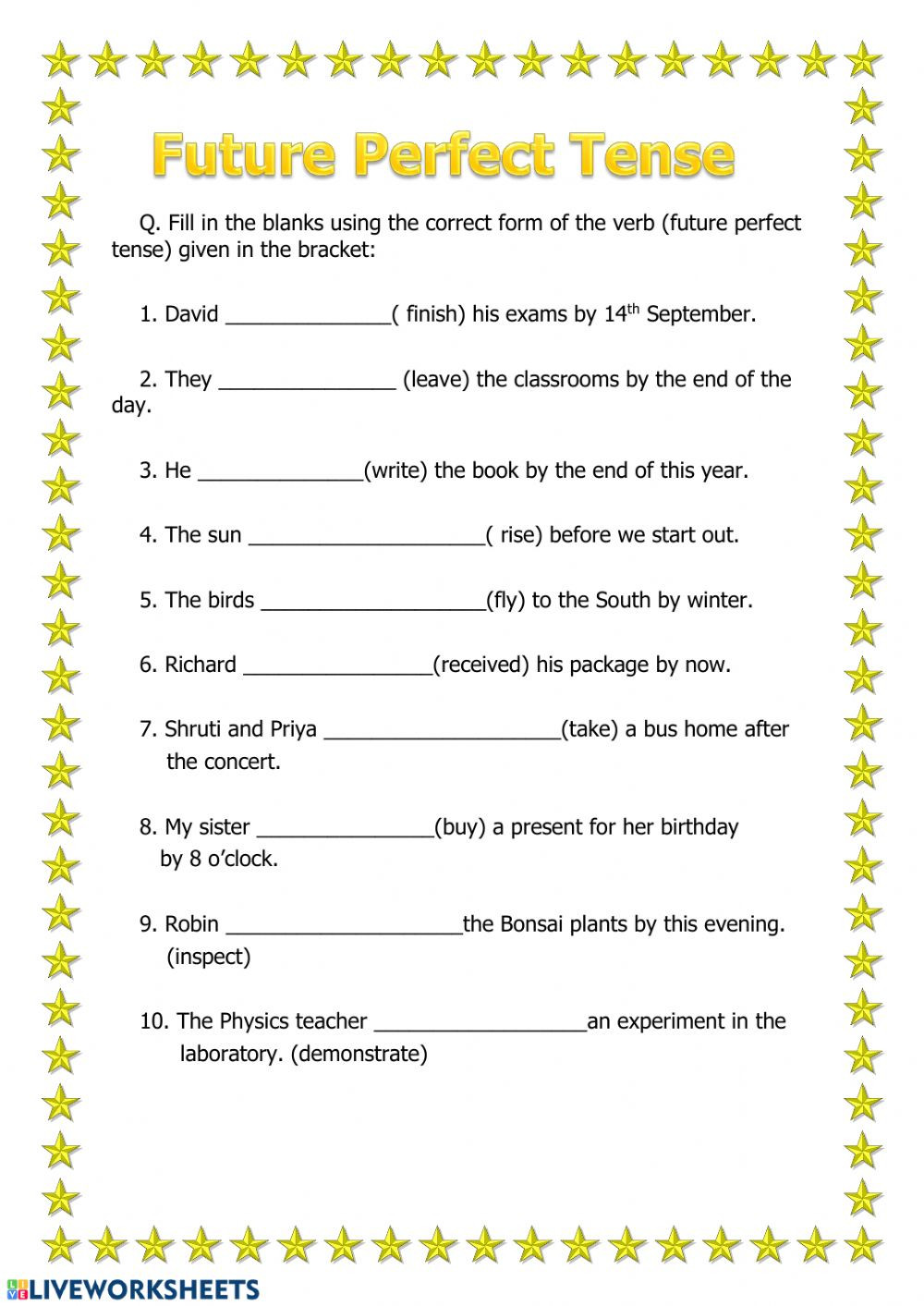Tenses Worksheets for Grade 5 Future Perfect Tense Interactive Worksheet