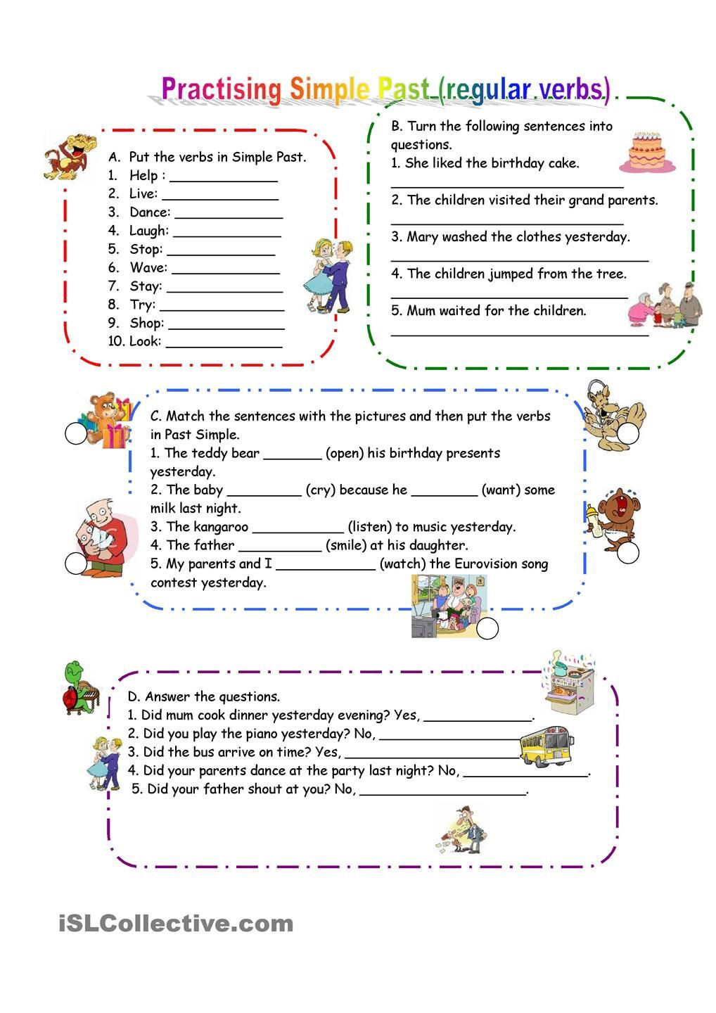 Tenses Worksheets for Grade 5 Practicing Past Simple Regular Verbs