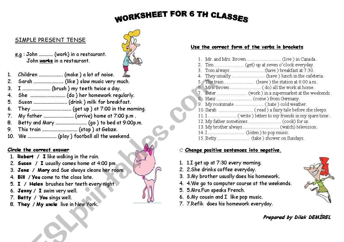 Tenses Worksheets for Grade 5 Tenses Worksheet for Grade 6