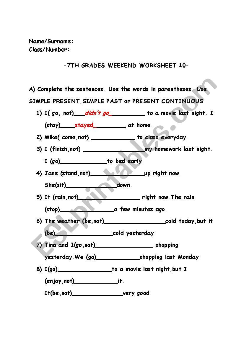 Tenses Worksheets for Grade 6 Mixed Tense Worksheet Esl Worksheet by Geniegrl