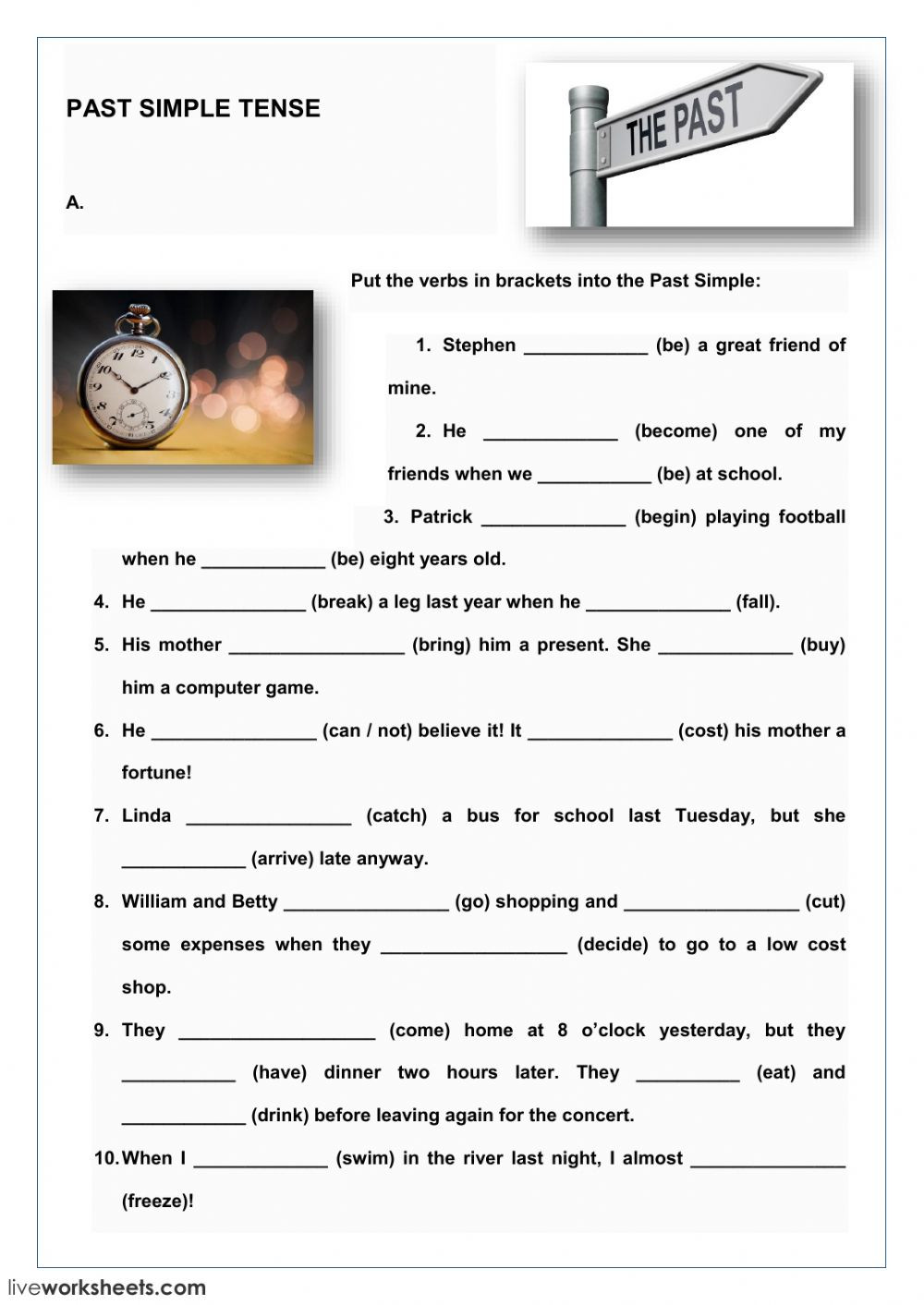 Tenses Worksheets for Grade 6 Past Simple Tense Interactive Worksheet