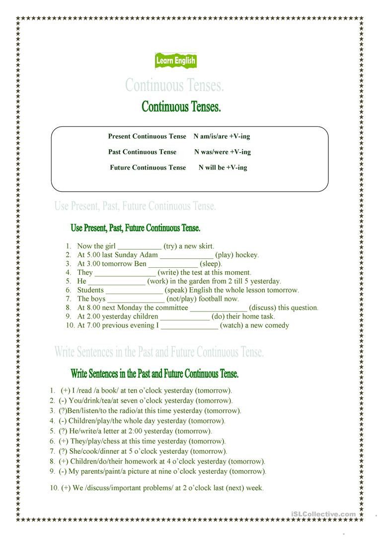 Tenses Worksheets for Grade 6 Present Past and Future Continuous Tenses English Esl