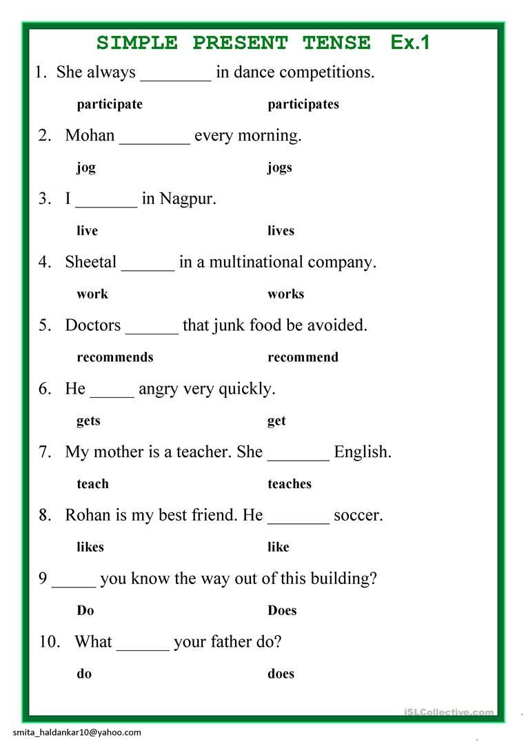 Tenses Worksheets for Grade 6 Present Simple Tense English Esl Worksheets for Distance