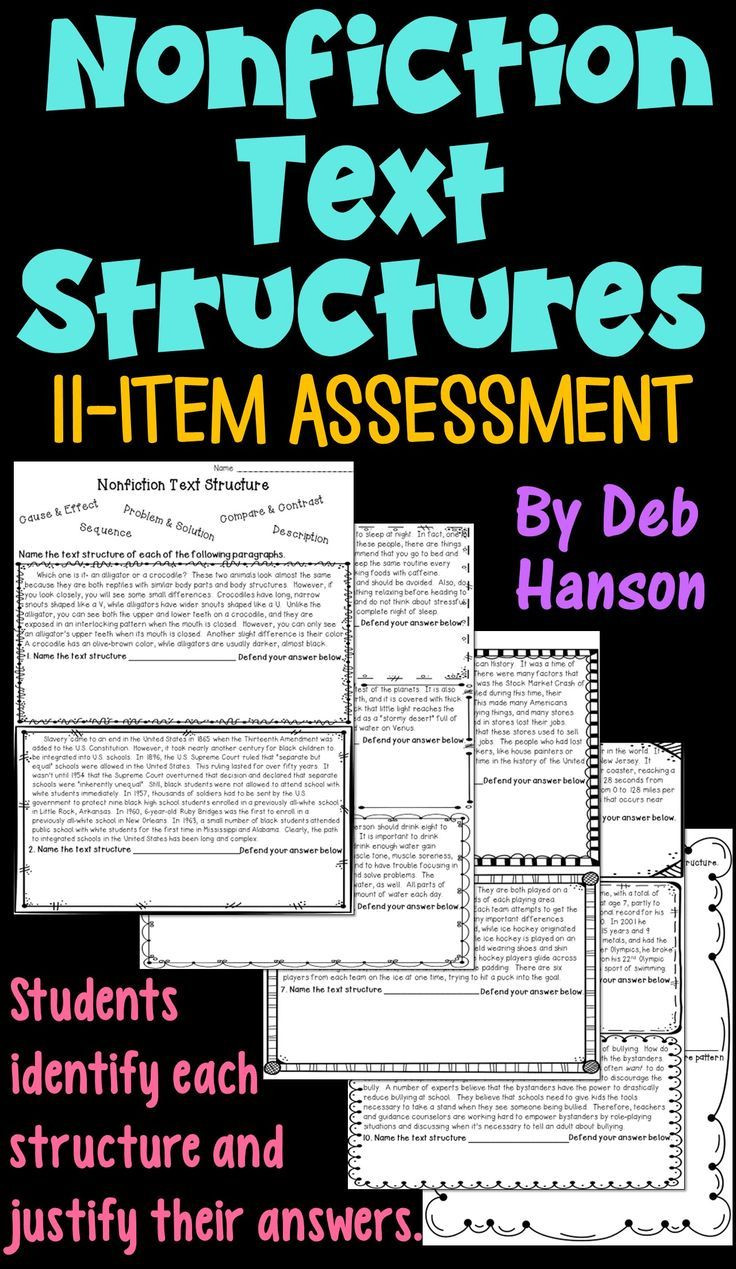 Text Structure 4th Grade Worksheets Informational Text Structure assessment