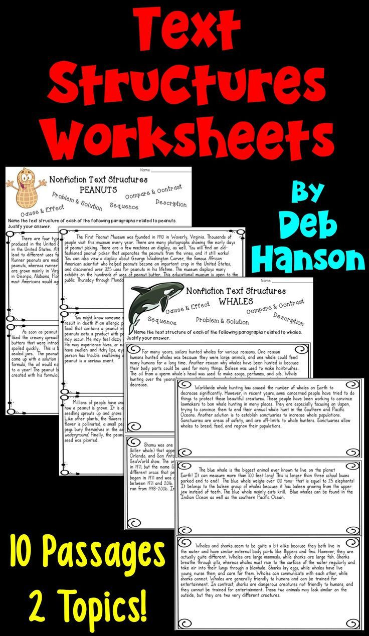 Text Structure 4th Grade Worksheets Informational Text Structures Two Worksheets