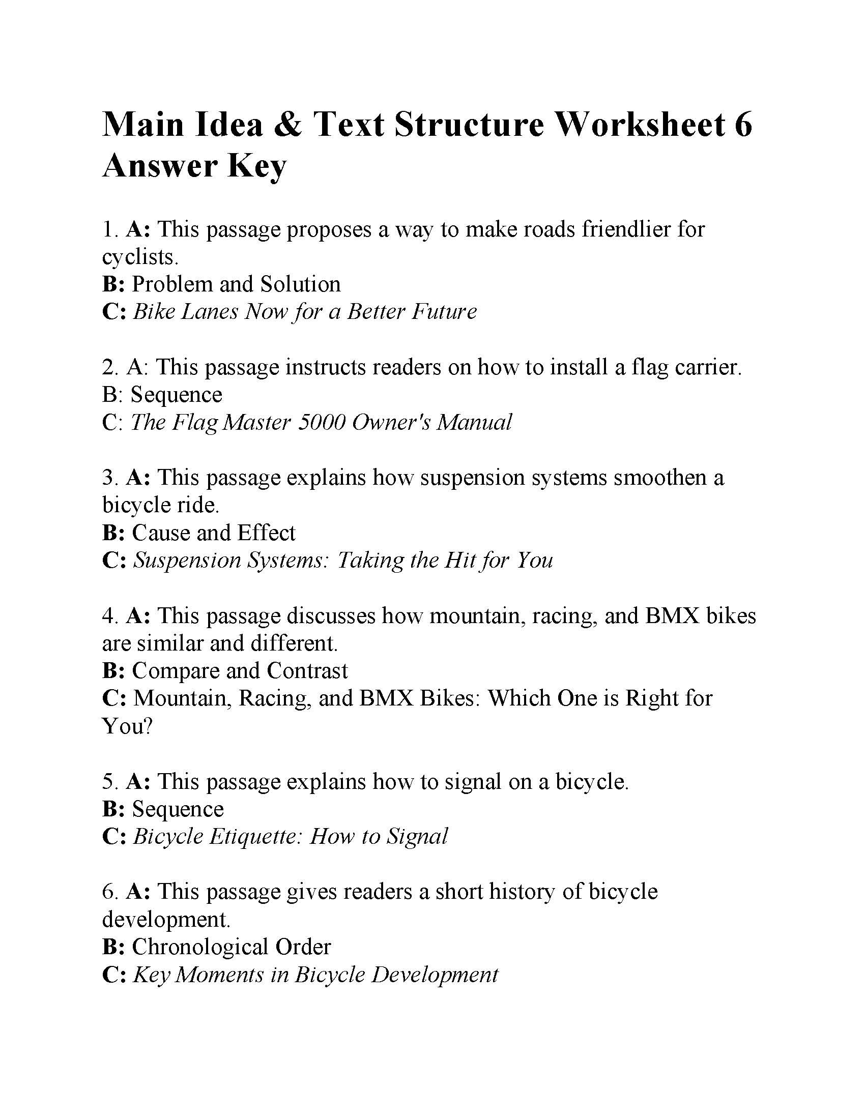 Text Structure 4th Grade Worksheets Main Idea and Text Structure Worksheet Answers Ereading