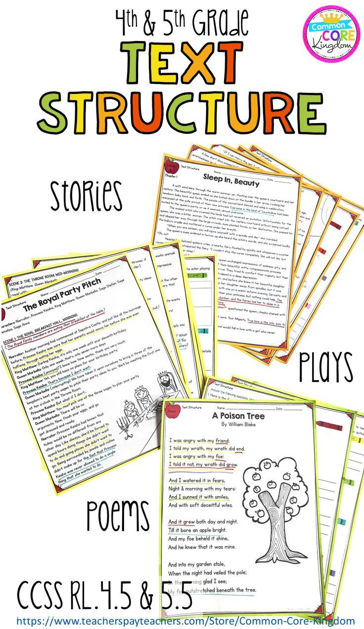 Text Structure 4th Grade Worksheets Text Structure In Stories Poems & Plays 4th & 5th Grade