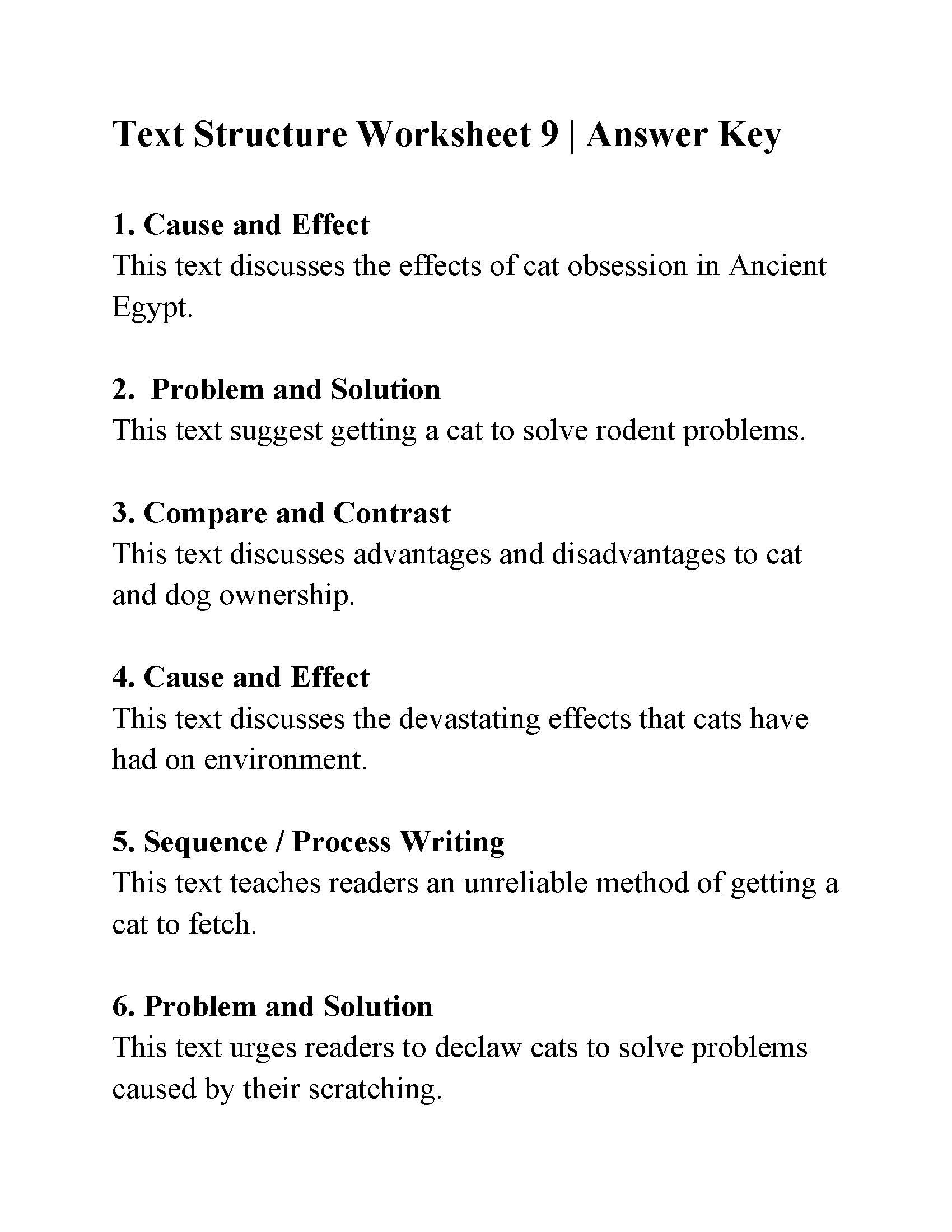 Text Structure 4th Grade Worksheets Text Structure Worksheet 9