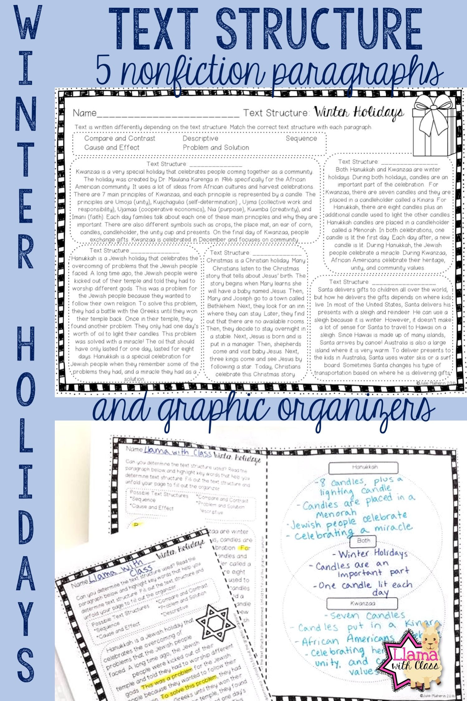 Text Structure 4th Grade Worksheets Winter Holidays Text Structure Worksheets