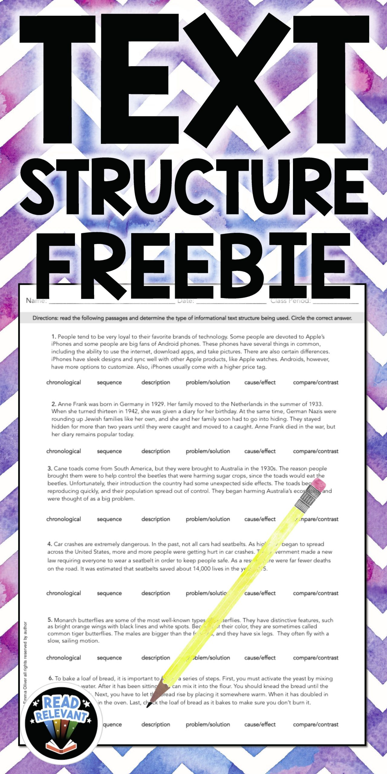 Text Structure 5th Grade Worksheets Text Structure Freebie E Page Worksheet
