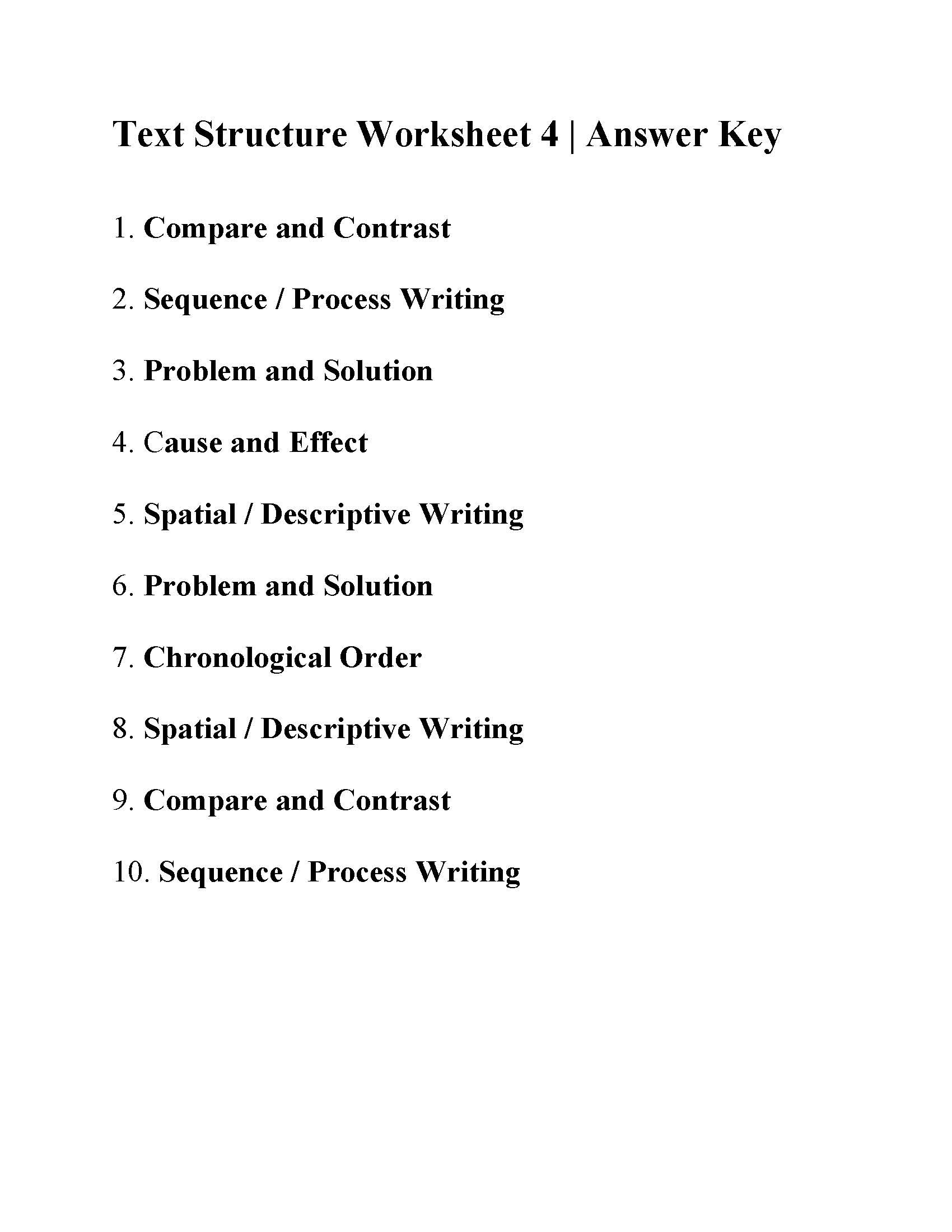 Text Structure 5th Grade Worksheets Text Structure Worksheet 4