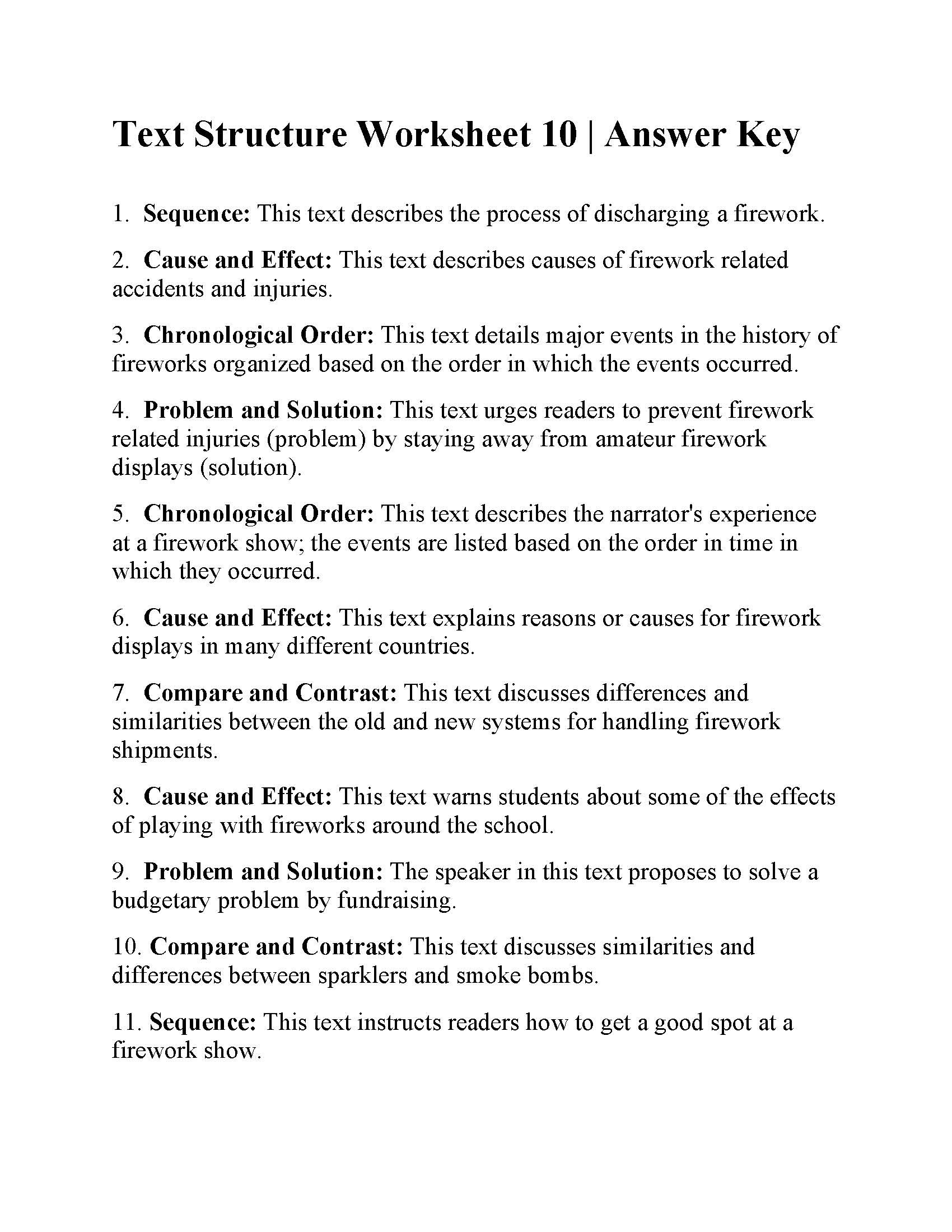 Text Structure 5th Grade Worksheets Worksheet Grade 10